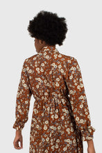 Load image into Gallery viewer, 22572_Brown floral tie neck maxi dress_7