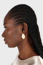 Load image into Gallery viewer, Gold and ivory irregular circle earrings1sx