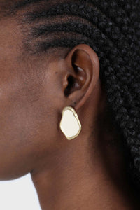 Gold and ivory irregular circle earrings2