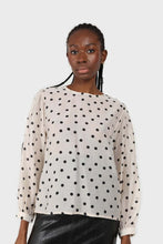 Load image into Gallery viewer, Ivory and black polka dots semi sheer blouse1sx