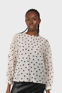 Ivory and black polka dots semi sheer blouse1sx