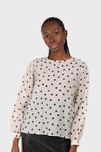 Load image into Gallery viewer, Ivory and black polka dots semi sheer blouse2