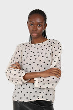 Load image into Gallery viewer, Ivory and black polka dots semi sheer blouse3