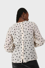 Load image into Gallery viewer, Ivory and black polka dots semi sheer blouse4