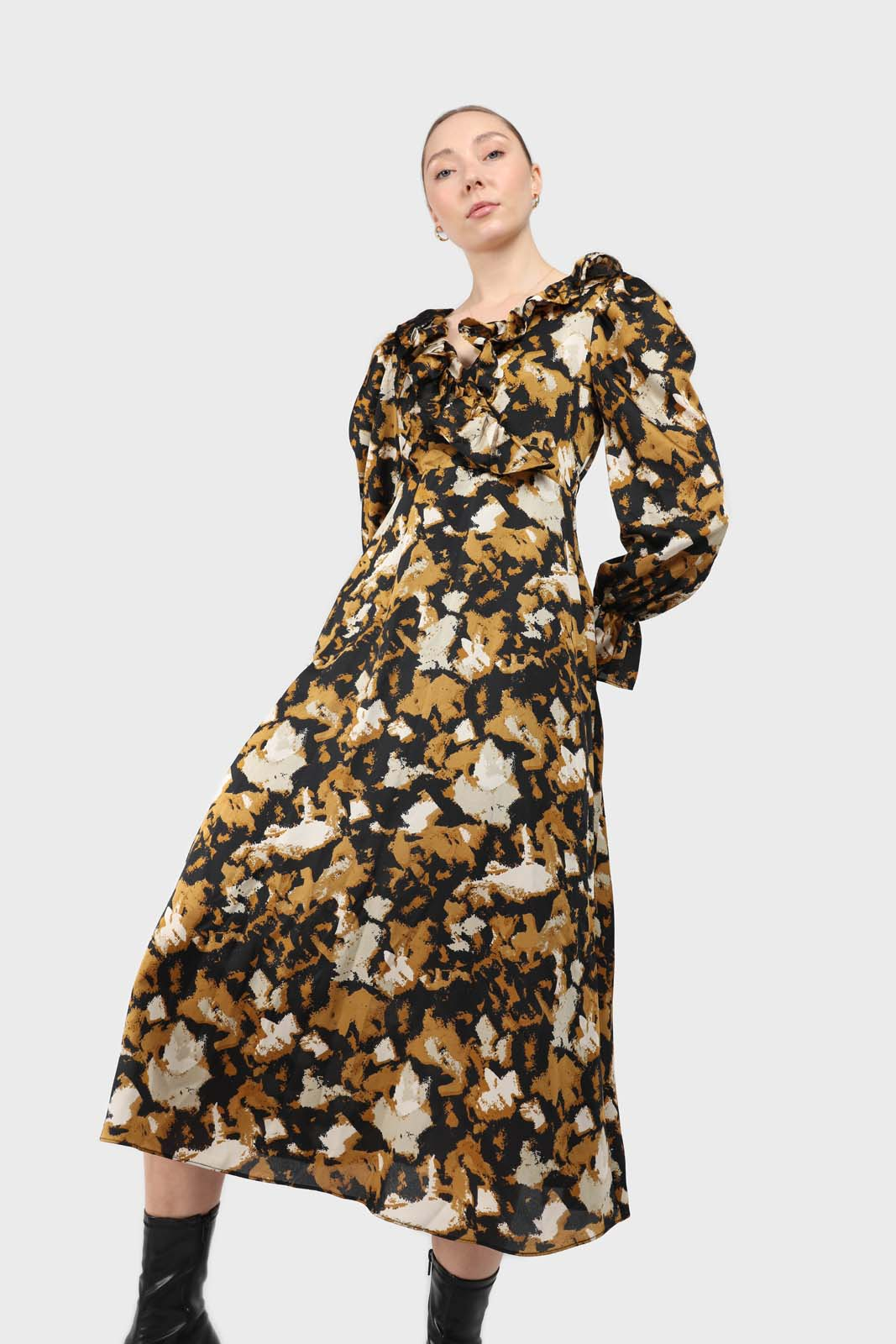 Mustard and black printed wrap maxi dress1sxc