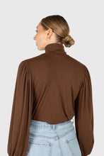 Load image into Gallery viewer, Brown turtleneck puff sleeved fitted top4