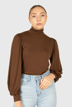 Load image into Gallery viewer, Brown turtleneck puff sleeved fitted top6