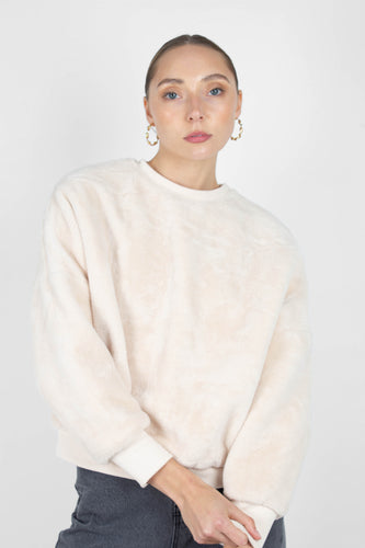 Ivory thick soft fuzzy oversized sweatshirt1sx