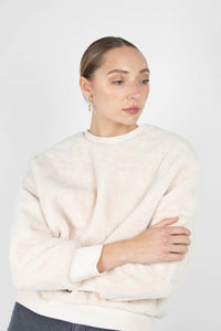 Ivory thick soft fuzzy oversized sweatshirt2