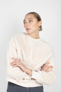 Ivory thick soft fuzzy oversized sweatshirt3
