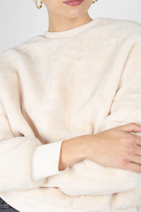 Ivory thick soft fuzzy oversized sweatshirt6