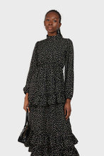 Load image into Gallery viewer, Black and ivory dot print maxi dress 3