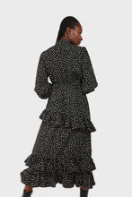 Load image into Gallery viewer, Black and ivory dot print maxi dress 5