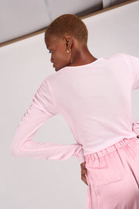 Pale pink sheer curved shirring top_4