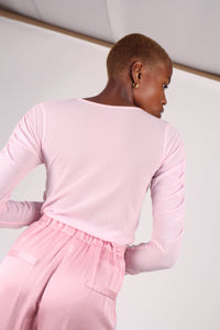 Pale pink sheer curved shirring top_9