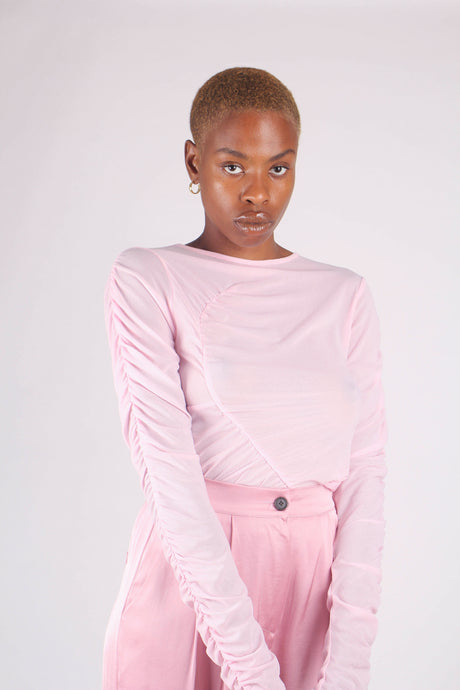 Pale pink sheer curved shirring top_1