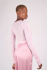 Pale pink sheer curved shirring top_7