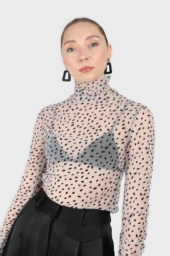 Ivory and black flecked sheer long sleeved top4
