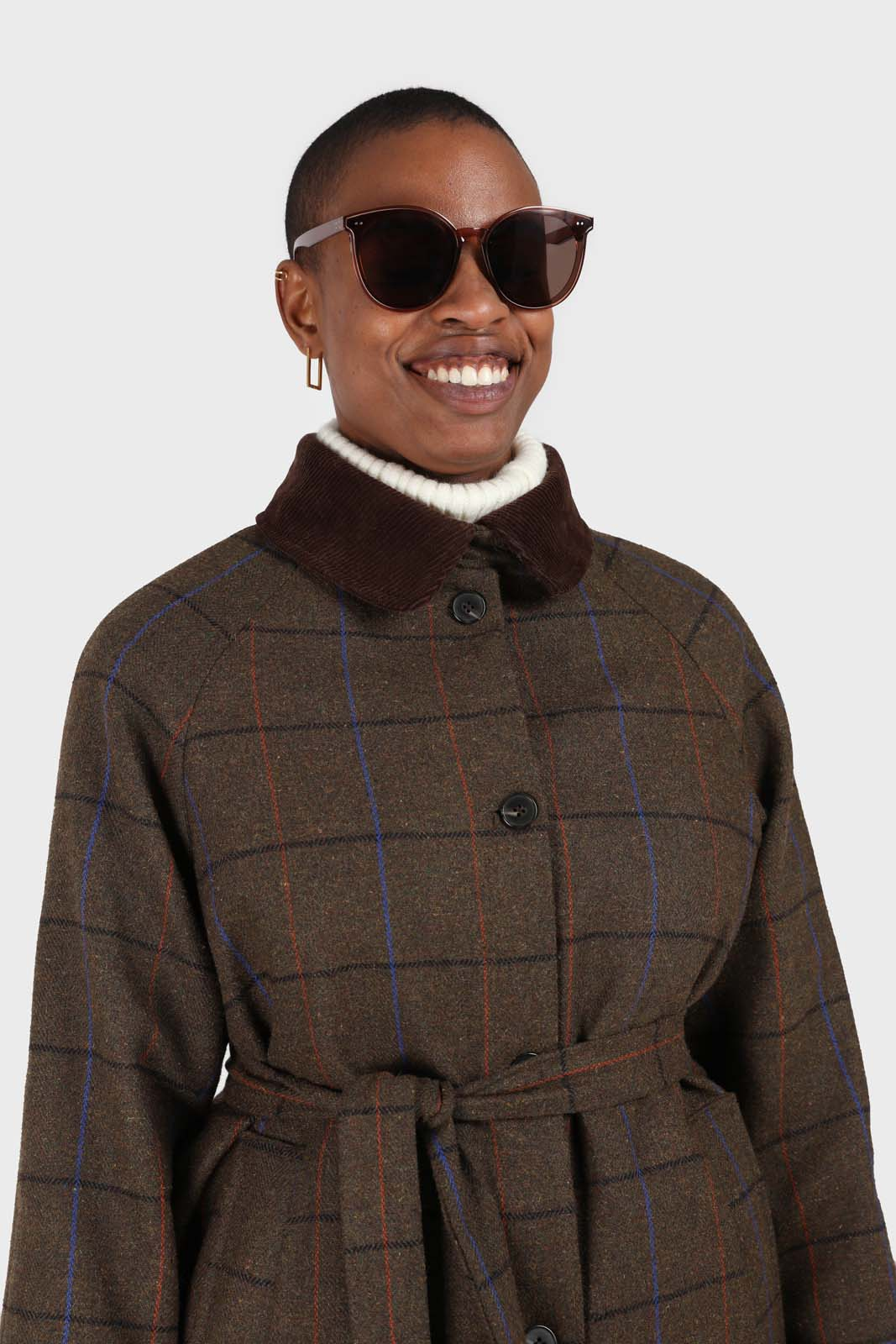 Khaki orange and cobalt box check corduroy collar wool-blend coat10