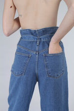Load image into Gallery viewer, 22636_Blue wash tie waist wide leg jeans_MCBBA1