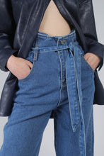 Load image into Gallery viewer, 22636_Blue wash tie waist wide leg jeans_MCFBA1