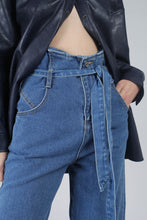 Load image into Gallery viewer, 22636_Blue wash tie waist wide leg jeans_MCFBA2