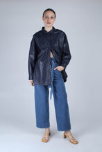 Load image into Gallery viewer, 22636_Blue wash tie waist wide leg jeans_MFFBA1