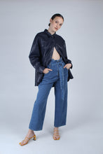 Load image into Gallery viewer, 22636_Blue wash tie waist wide leg jeans_MFFBA2