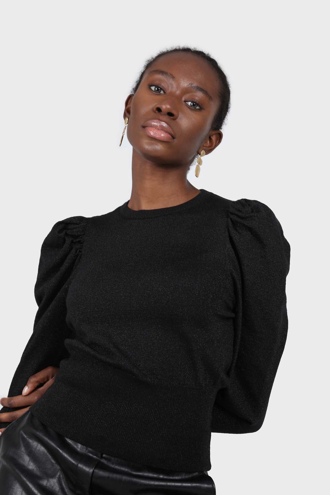 Black glitter balloon sleeve knit top1sx
