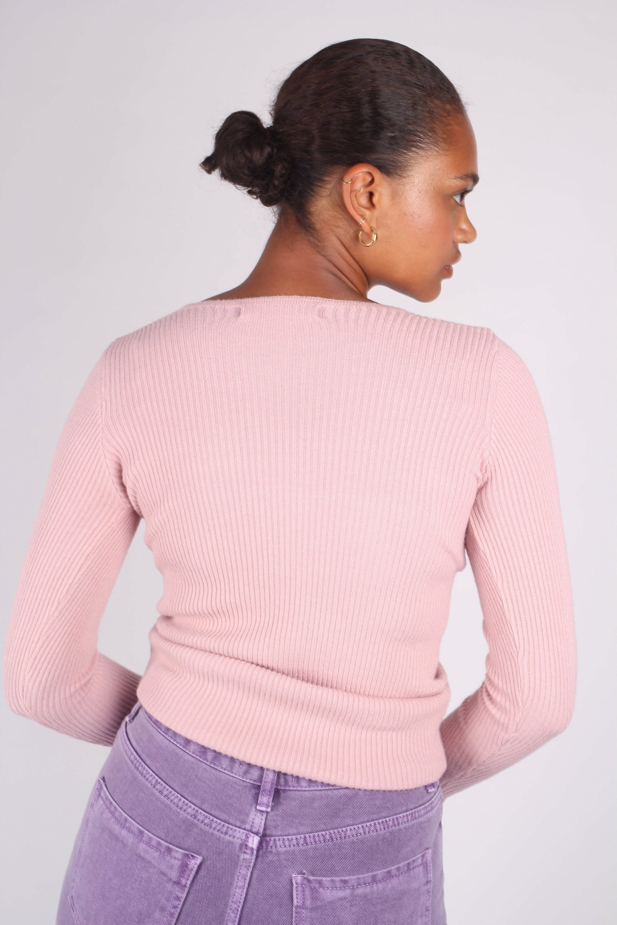 Pink pull front ribbed knit top_2