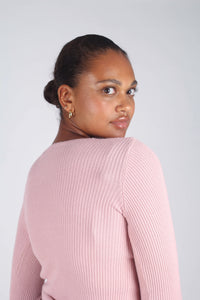 Pink pull front ribbed knit top_4