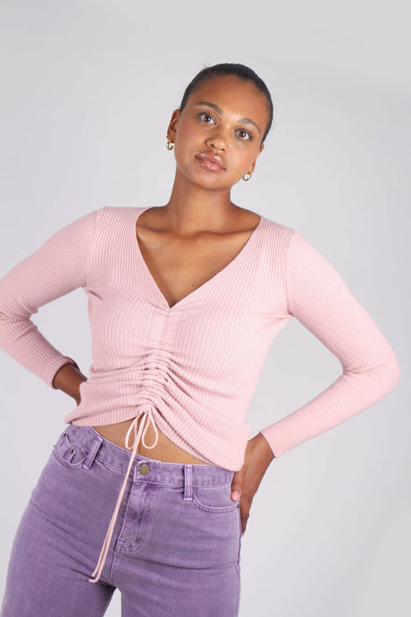 Pink pull front ribbed knit top_1