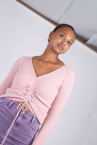Pink pull front ribbed knit top_3