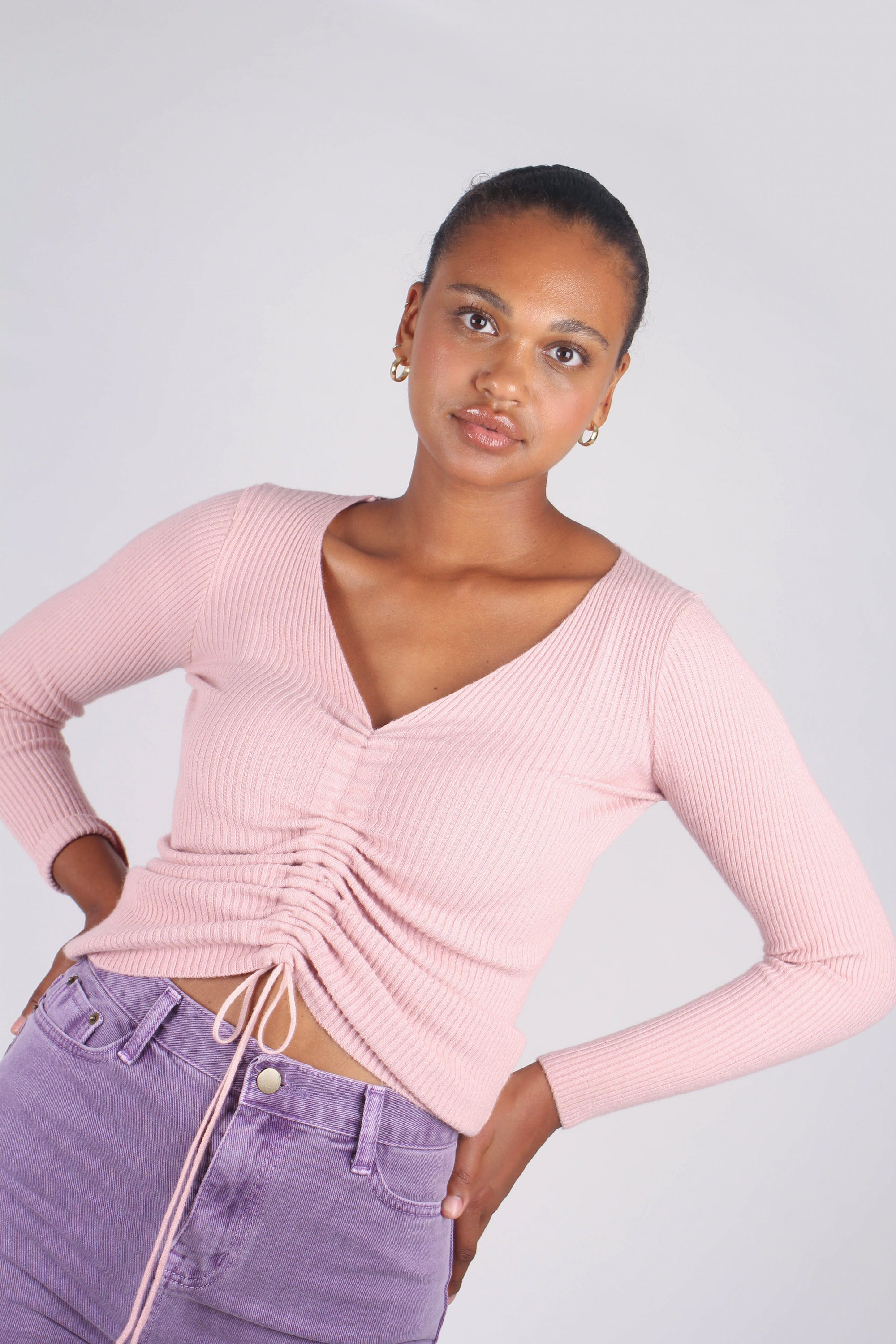Pink pull front ribbed knit top_5