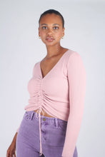 Load image into Gallery viewer, Pink pull front ribbed knit top_6