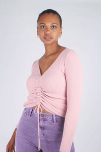 Pink pull front ribbed knit top_6