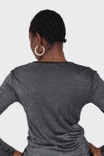 Load image into Gallery viewer, Charcoal sheer glitter long sleeved top3