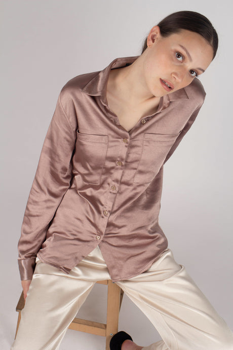 22646_Beige satin chest pocket silky shirt_MCFBA1