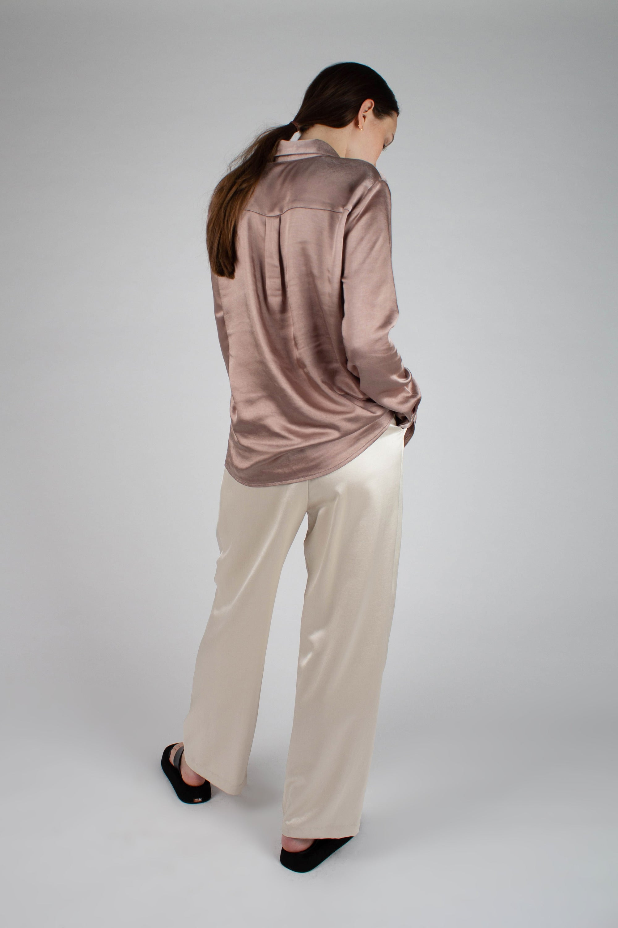 22646_Beige satin chest pocket silky shirt_MFSBA1