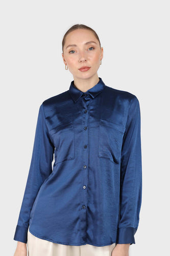Navy satin chest pocket silky shirt1sx