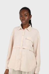 Pale pink button row silky shirt blouse1sx