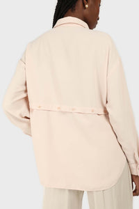 Pale pink button row silky shirt blouse3