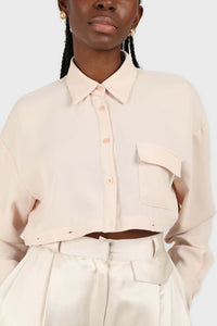 Pale pink button row silky shirt blouse5
