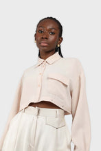 Load image into Gallery viewer, Pale pink button row silky shirt blouse6
