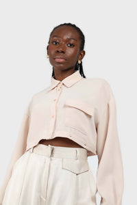 Pale pink button row silky shirt blouse6