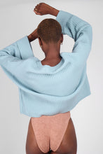 Load image into Gallery viewer, Mint green ribbed long sleeved jumper5