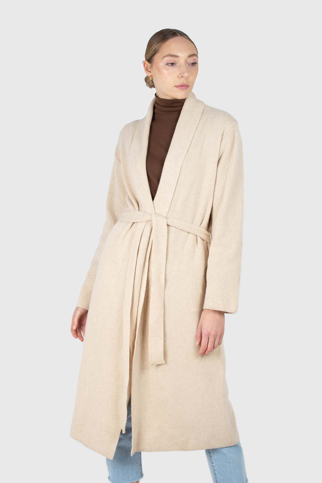 Beige wool blend extra long cardigan1