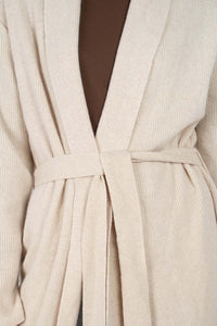 Beige wool blend extra long cardigan3