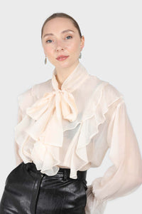 Ivory frill tie neck long sleeve blouse1sx