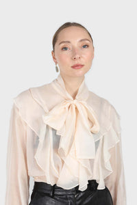 Ivory frill tie neck long sleeve blouse2